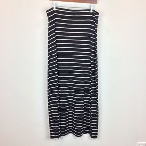 Ann Taylor Loft Black & White Striped Maxi Skirt
